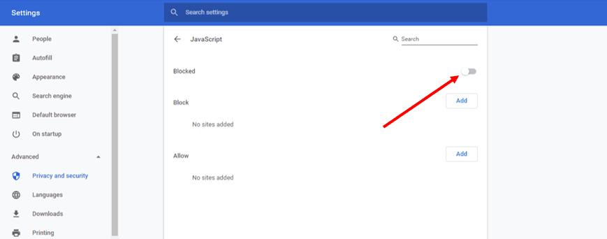 JavaScript on Google Chrome 7